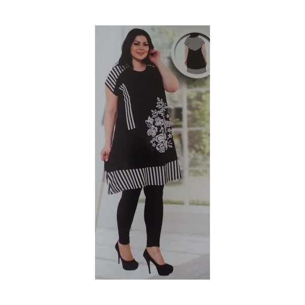 Büyük Beden Siyah Taşlı Çiçekli Desenli Çizgili Kısa Kollu Kadın Elbisesi 7781-Ö