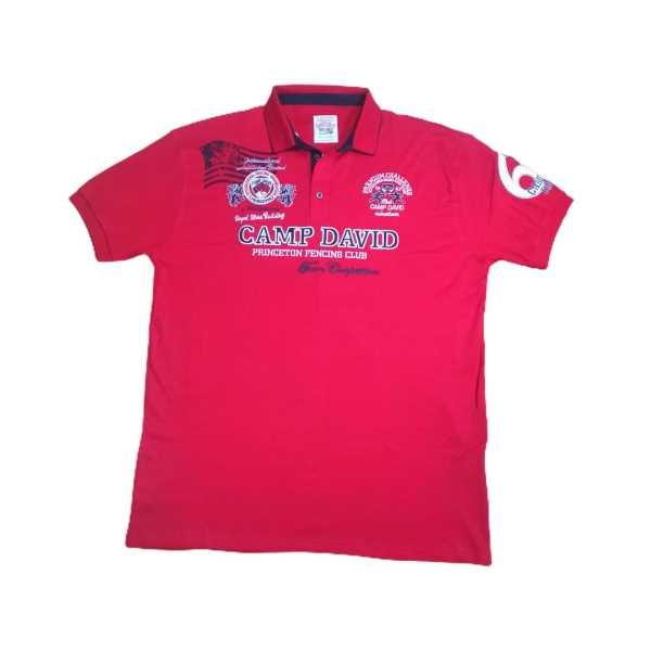 Büyük Beden Erkek Polo Yakalı Kırmızı Kısa Kollu Penye Tişört ETP-CDD-K