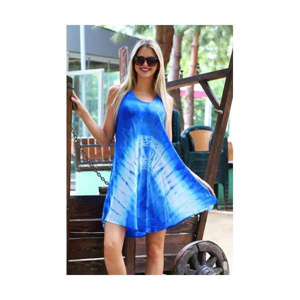 Patiska Kadın Kısa Çan V Desenli Batik Elbise 4124