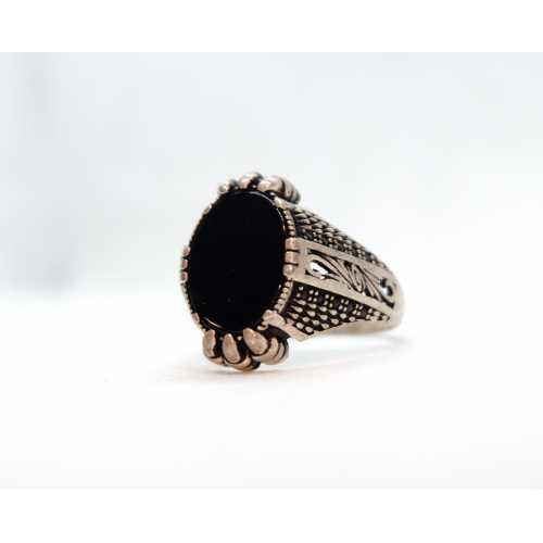 Oniks taşlı erkek yüzüğü 925 ayar gümüşlü