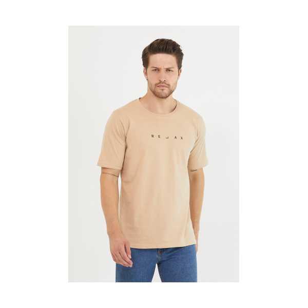 Erkek Kahve Relax Baskılı Slim Fit T-Shirt