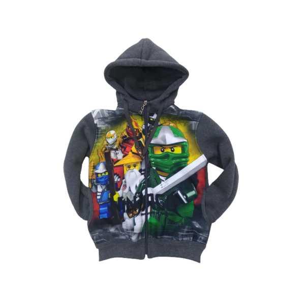 Erkek Çocuk Ninjago Digital Baskılı Kapüşonlu Astarlı Fermuarlı Cepli Üç İplik Ceket ÇCFK-NİNJ