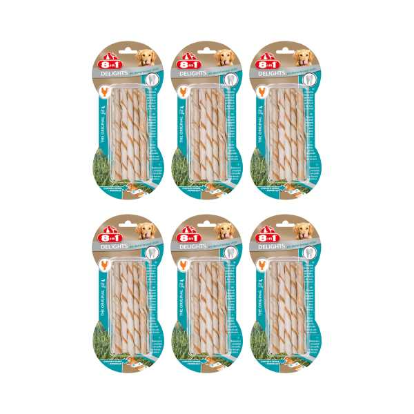 8in1 Pro Dental Twisted Sticks Plak Önleyici Diş Dostu Tavuklu Ağız Bakım Kemiği x 6 Adet