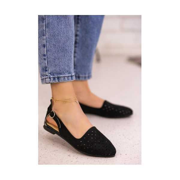 Epile Siyah Süet Fileli Babet Ayakkabı