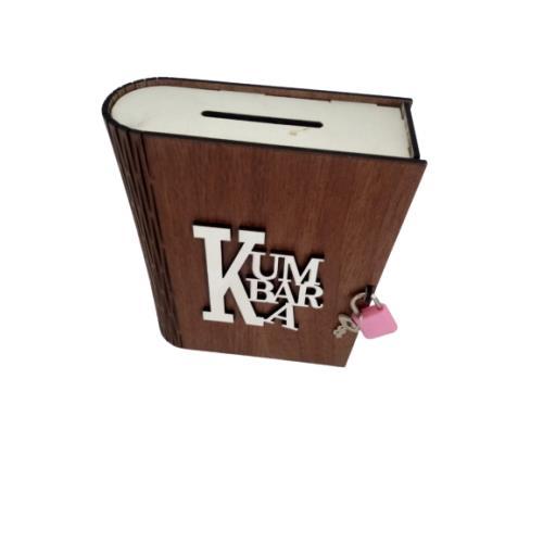 Kitap Görünümlü Dekoratif Asma Kilitli Kumbara kahverengi