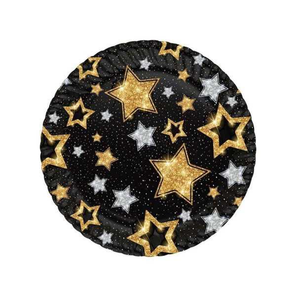 Siyah Karton Tabak Altın Yıldızlı 8li