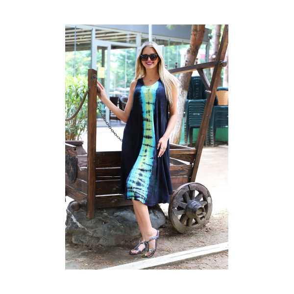 Patiska Kadın Uzun Çan Boyuna Desenli Batik Elbise 4134