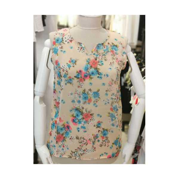 Kadın Pudra Çiçek Desenli Kolsuz Şifon Bluz