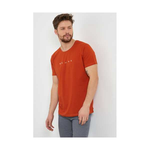 Erkek Turuncu Baskılı Slim Fit Likralı T-shirt
