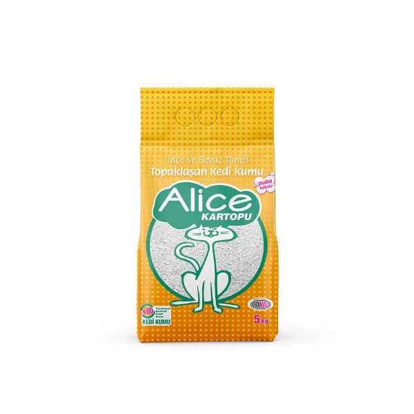 Alice İnce ve Beyaz Taneli Topaklaşan Pudra Kokulu Kedi Kumu 5 Kg (5,75 Lt)