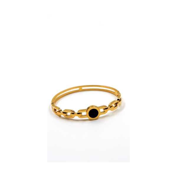 Zincir Kordon Siyah Taşlı Gold Altın Kaplama Bileklik