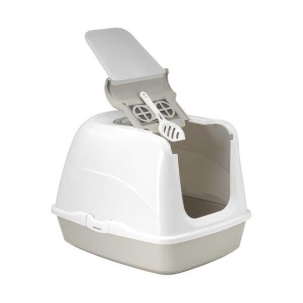 Moderna Flip Cat Kolay Açılır Filtreli Dekoratif Kapalı Kedi Tuvaleti Gri 50x39x37 cm