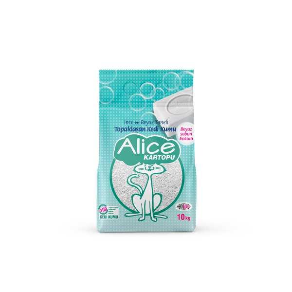 Alice Kartopu İnce Taneli Kedi Kumu/Beyaz Sabun Kokulu 10 kg (11,5 Lt)