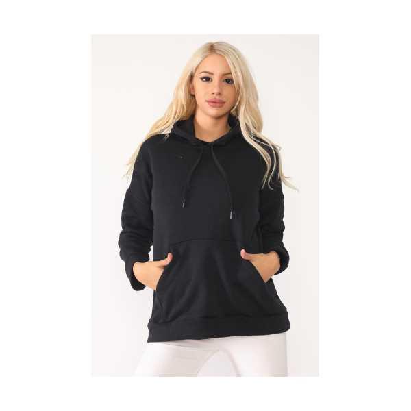 Kadın Siyah Kapşonlu Kanguru Cepli Sweatshirt