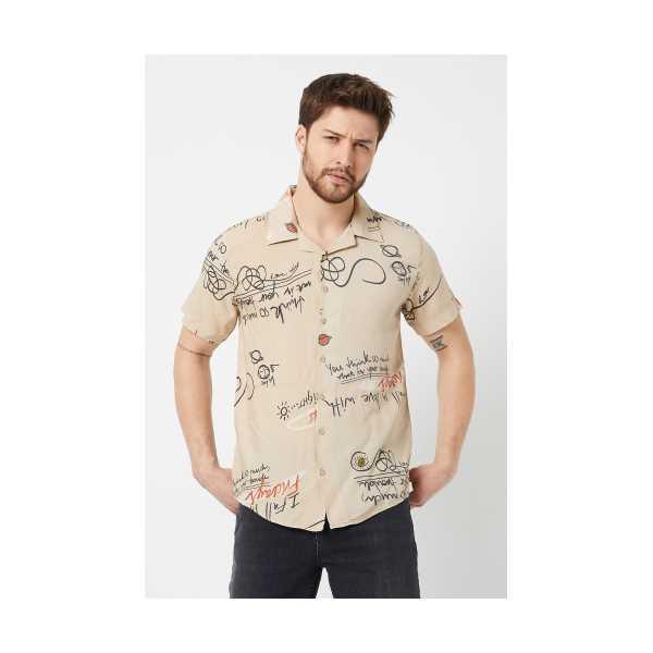 ERKEK Bej Modelli Regular Fit Gömlek