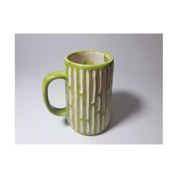El Yapımı Seramik Bira Bardağı Çimen Yeşili