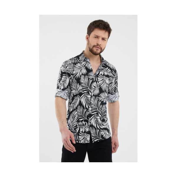Siyah Erkek Slim Fit Modelli Uzun Kollu Gömlek