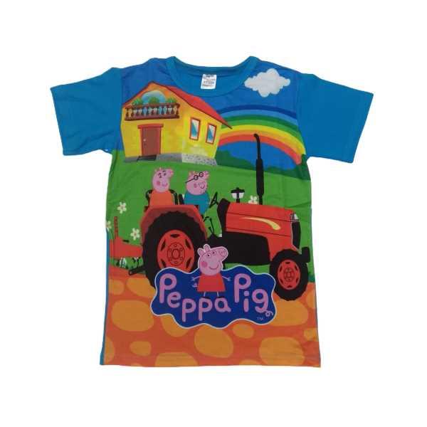 Erkek Çocuk Peppa Pig Mavi Kısa Kollu Traktörlü Tişört ÇET-PPT