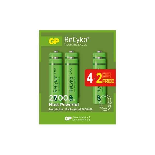 Gp 6'lı (4+2) Recyko 2700 Serisi Ni-Mh Şarj Edilebilir AA Kalem Pil