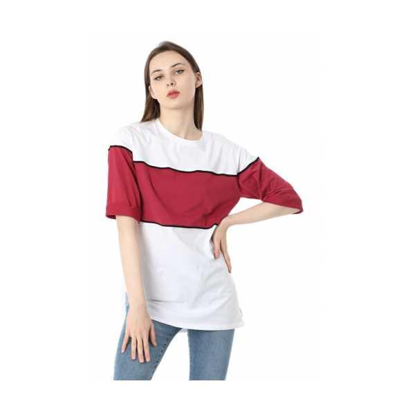 Iki Renkli Salaş T-shirt - Bordo