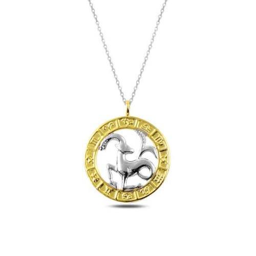 Gümüş Gold Oğlak Burcu Kolye