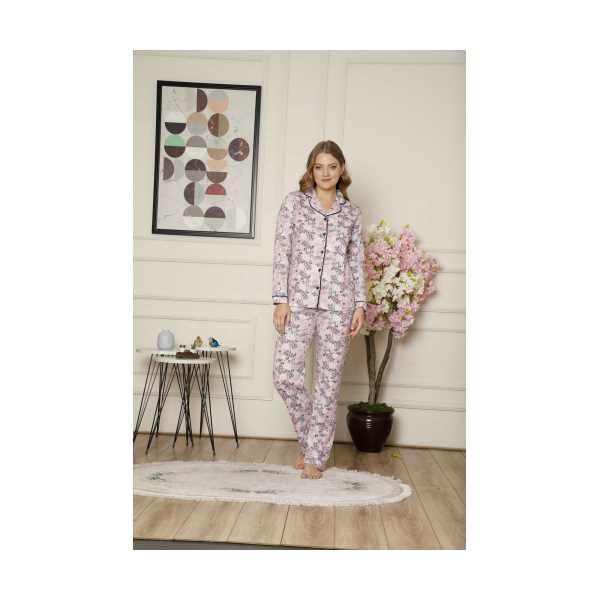 ALİMER Kadın Pembe Çiçekli Pamuklu Yakalı Önden Düğmeli Uzun Kol Pijama Takımı