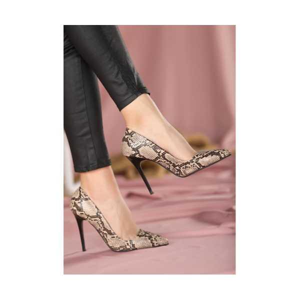 Kendin Vizon Cilt Yılan Detaylı Stiletto Ayakkabı