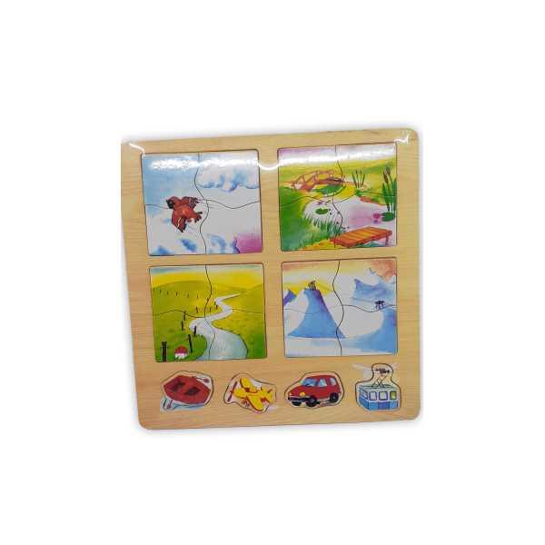 Montessori Eğitici Oyuncak: Ahşap Eğitici 4'lü Puzzle Doğa Şekiller