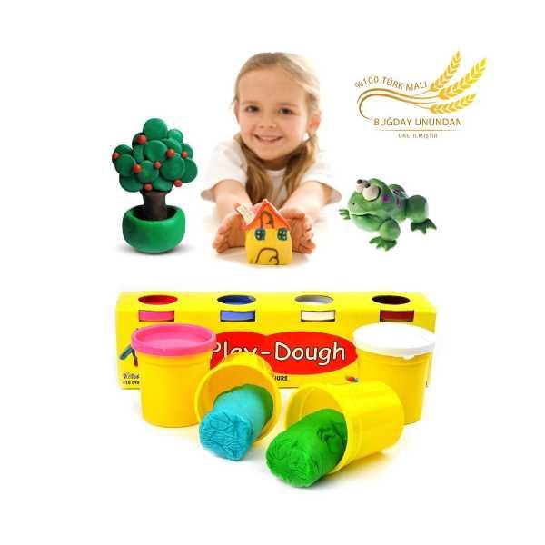 4 Renkli Buğday Unu Oyun Hamuru (Büyük Boy) - Play Dough