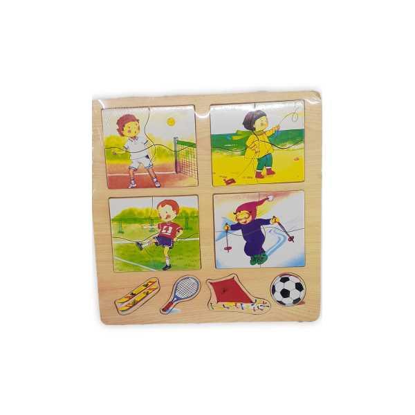 Montessori Eğitici Oyuncak: Ahşap Eğitici 4'lü Puzzle