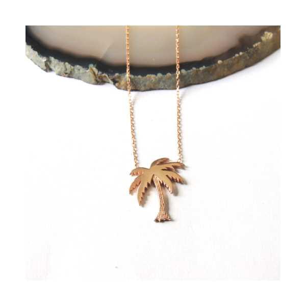 Rose Gold Kaplama Gümüş Palmiye Kolye