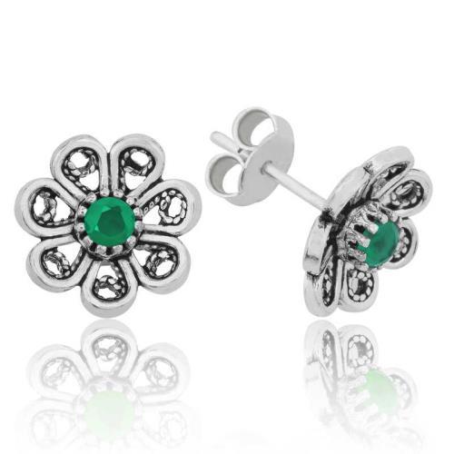 Midyatziv Gümüş Yeşil Telkari Çiçek Çivili Küpe midyatziv