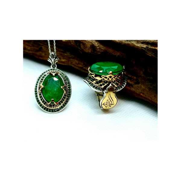 Zümrüt Yeşili Gümüş set yüzük Kolye GumusAkce ipeksilver