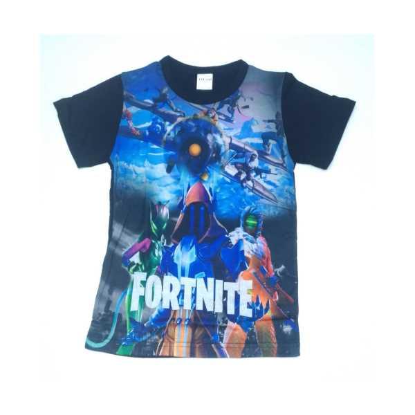 Fortnite Erkek Çocuk Mavi Dijital Baskılı Kısa Kollu Tişört ÇET-FRT