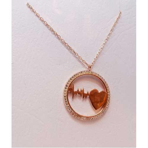 Halka içinde kalp ritmi olan kalpli 925 ayar gümüş kolye