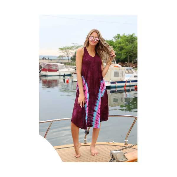 Patiska Kadın Uzun Çan V Desenli Batik Elbise 4135