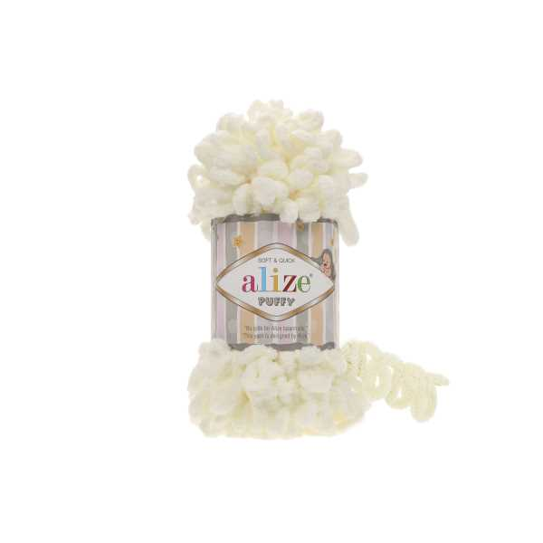 Alize Puffy El Örgü İpi No: 62 Renk: Açık Krem (5'li paket)