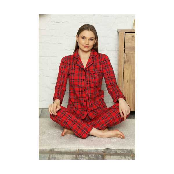 ALİMERKadın Kırmızı Ekose Gömlek Yaka Pijama Takımı
