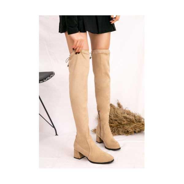 Kelz Vizon Süet Çorap Çizme