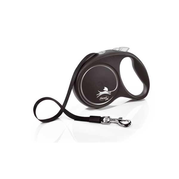 Flexi Black Design Şeritli Otomatik Gezdirme Tasması Gri-Siyah 5m Medium