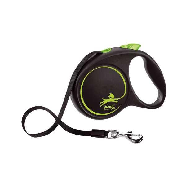 Flexi Black Design Şeritli Otomatik Gezdirme Tasması Yeşil-Siyah 5m Medium