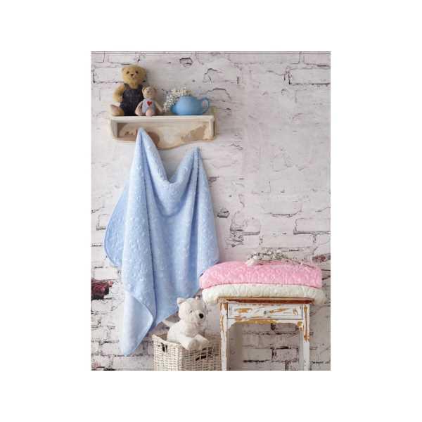 Cottonbox Emboss Bebek Battaniye (Mavi-Pembe-Ekru renk seçenekleri)