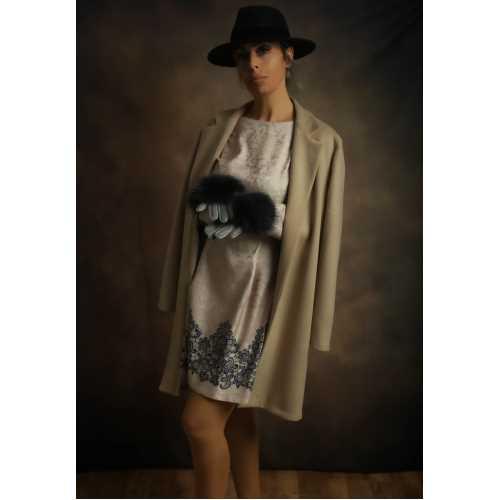 Beige Elbise ve Palto Takım