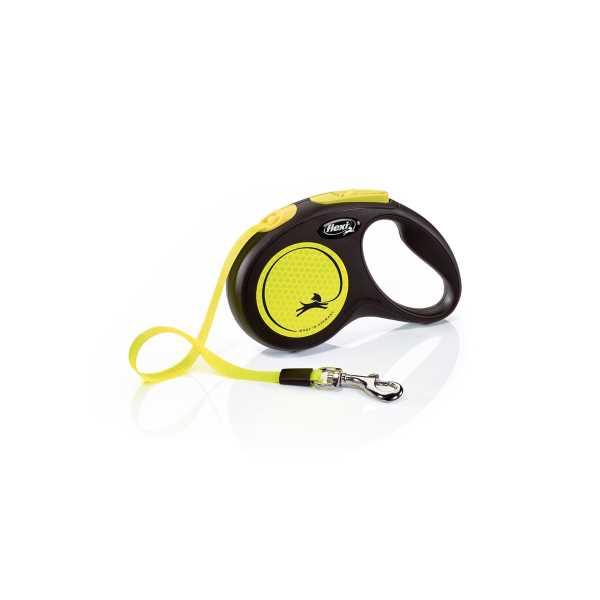 Flexi New Neon Sarı Parlak Şeritli Otomatik Gezdirme Tasması 5m Medium