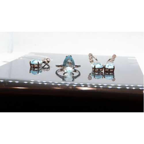 Turmalin taşlı özel tasarım 925 ayar gerçek has gümüş bayan tasarım  set