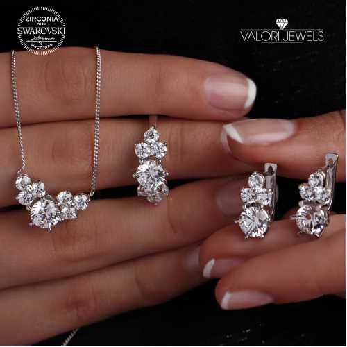 Swarovski Çok Taşlı Gümüş Set YENİ