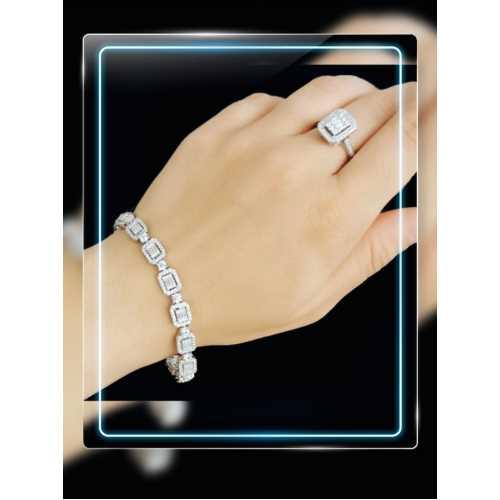 Baget taşlı elişi pırlanta tasarımlı gümüş bileklik yüzük