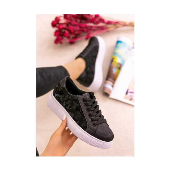 Endan Siyah Cilt Desenli Beyaz Tabanlı Bağcıklı Spor Ayakkabı