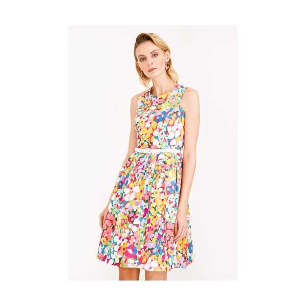 Class Giyim Ekol Desenli Sıfır Yaka Elbise