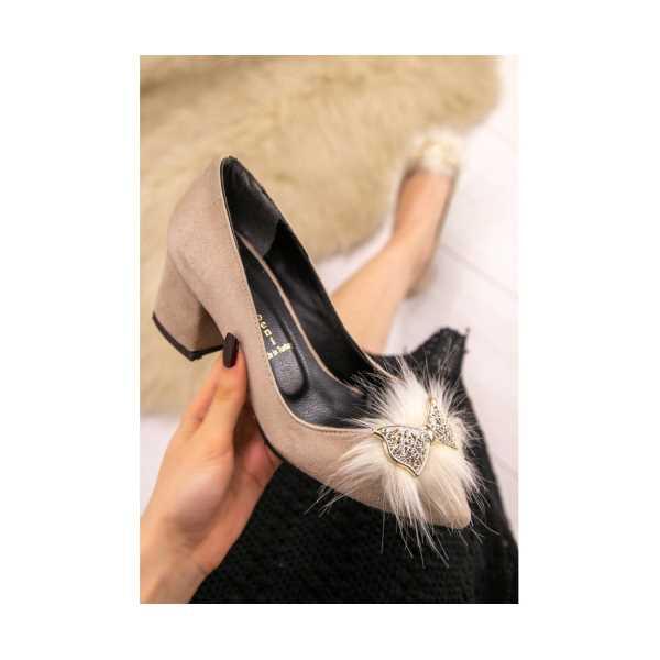 İlge Vizon Süet Topuklu Ayakkabı